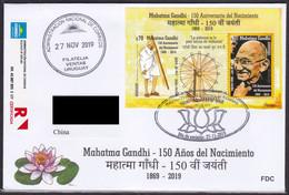 Uruguay 2019 150 Years Birth Of Mahatma Gandhi Famous People India Registered Letter To China Income Postmark On Back - Mahatma Gandhi