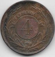 Uruguay - 4 Centesimos 1869 - TTB - Uruguay