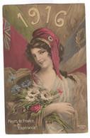 G144 - MILITARIA -1916 - Patriotique - Fleurs De France, Espérance ! Drapeau - Bonnet Phrygien - Marianne - Patriottisch