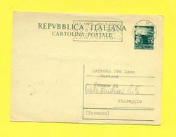 TARGHETTE-STORIA POSTALE-ANNULLI A TARGHETTA SU INTERI POSTALI -CARTOLINA POSTALE  -  C141 -CARAVAGGIO - 1946-60: Poststempel