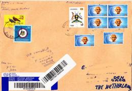 SOUTH SUDAN Cover 2019 75 SSP Overprint Stamp On 2 SSP Birds  Via UGANDA 6x Gandhi To NL Südsudan Soudan Du Sud - South Sudan