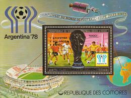 "COMORES - BLOC OR N°182 ** (1978) Football ""Argentina'78"" Surcharge - Comoros"