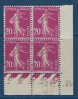 "FR Coins Datés YT 190 (III) "" Semeuse Camée 20c. Lilas-rose "" Neuf* Du 21.2.35 - ....-1929"