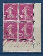 "FR Coins Datés YT 190 (III) "" Semeuse Camée 20c. Lilas-rose "" Neuf* Du 5.10.34 - ....-1929"