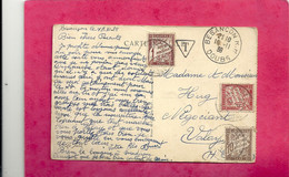 BESANCON-LES-BAINS . PORTE DES CARMES ET FONTAINE . CARTE TRES TAXEE AU VERSO - TAMPON & TIMBRES - Du 20-11-1938.2 SCANE - Besancon