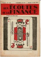 Aux Ecoutes De La Finance Aout 1937 L'ATOUT DE JOHN BULL ..jeu Carte à Jouer Collection Cartes - Non Classificati