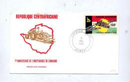Lettre Fdc 1981 Independance Tracteur - Repubblica Centroafricana