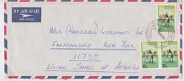 Nauru Enveloppe Timbre Sport Lutte Nauruan Wrestling Stamp Commercial Air Mail Cover 1974 - Lotta