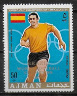 AJMAN  PA  71- E  * *  SURCHARGE  Cup 1970  Fussball  Soccer Football Martinez Espagne - 1970 – Mexique