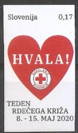 SLOVENIA 2020,RED CROSS,RED CROSS WEEK,SURCHARGE,ADITIONAL STAMPS,HVALA,HEART,,THANKS,ADHESIV,SELBSTICK,MNH - Slovenia
