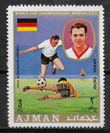 AJMAN  PA  71- E  * *  SURCHARGE  Cup 1970  Fussball  Soccer Football  Beckenbauer Allemagne - 1970 – Mexique