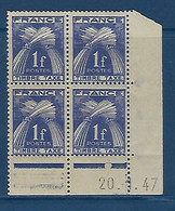 "FR Coins Datés Taxe YT 81 "" Gerbes 1F. Bleu-violet "" Neuf** Du 20.1.47 - Portomarken"