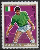 AJMAN  PA  71- E  * *  SURCHARGE  Cup 1970  Fussball  Soccer Football  Anastasi Italie - 1970 – Mexique