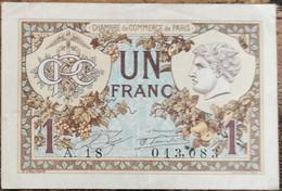 Billet 1 Franc Chambre De Commerce De Paris 1922 - Nécessité A.18  013083 - Chamber Of Commerce