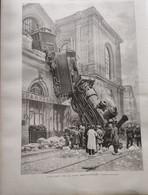 1895 PARIS - L'ACCIDENT DE LA GARE MONTPARNASSE - CHUTE DE LA LOCOMOTIVE - WAGON POSTE GRANVILLE  - Ref: ILL Zuri D - Magazines - Before 1900