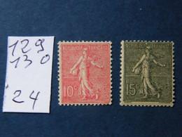 Semeuse   No 129  130  Neuf ** - Unused Stamps