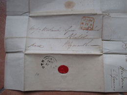 8.7.1841 PAID From LONDON To Plymouth Croce Rossa Partenza Arrivo Timbro Ceralacca HUDSON Tobacconist - Storia Postale