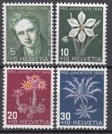 SCHWEIZ  475-478, Postfrisch **, Pro Juventute 1946, Alpenblumen - Neufs