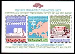 BULGARIA 1987 European Security Conference Block MNH / **.  Michel Block 176A - Blocks & Sheetlets