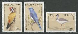 """Bhutan 1989 - 3 Valeurs """"Divers Oiseaux"""" - Neuf ** MNH - Otros"""