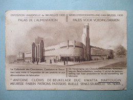 Oude Postkaart  Wereldtentoonstelling  Brussel 1935    PALEIS   VOOR    VOEDINGSWAREN - Piazze Di Mercato
