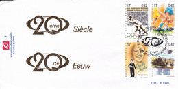 B01-289 2868 2869 2873 2874 FDC P1340 Sport Tour 20ème Siècle Charlie Chaplin Football 04-12-1999 2220 Heist Op Den Berg - 1991-00