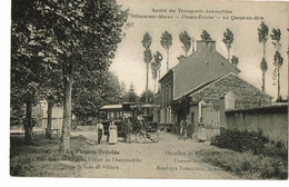 Le  Plessis Trévise L'église Et Le Départ De L'automobile Pour La Gare De Villiers Omnibus De Dion Bouton - Le Plessis Trevise