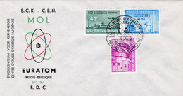 Enveloppe Cover Brief FDC 1195 à 1197 Mol Euratom - Lettres & Documents