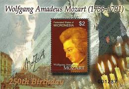 Micronesia, 2007, Michel 1767, The 250th Anniversary Of The Birth Of Wolfgang Amadeus Mozart, Block 165, MNH - Musica