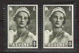BELGIE OBP 411 Kon. Astrid (paartje) Varieteit/druktoevalligheid Rakelstrepen Door Gezicht ** - Other