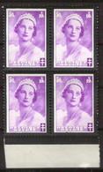 BELGIE OBP 414 Kon. Astrid (blok) Varieteit/druktoevalligheid Witte Streep Bij Hals Door Origineel Gomkreukje** - Other