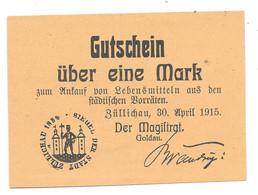 **notgeld Zullichau 1 Mark  30 April 1915   415.5 - [11] Local Banknote Issues