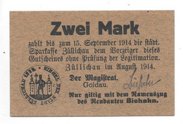 **notgeld Zullichau 2 Mark  August 1914 -15 September 1914  415.2 - [11] Local Banknote Issues