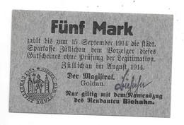**notgeld Zullichau 5 Mark  August 1914 -15 September 1914  415.3 - [11] Local Banknote Issues