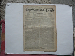 JOURNAL QUOTIDIEN ET HEBDOMADAIRE DES TRAVAILLEURS - LE REPRESENTANT DU PEUPLE 16 Août 1848 - 1800 - 1849