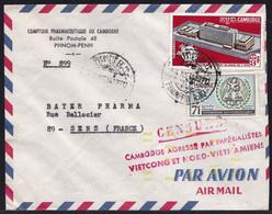 Lettre AVION De PNOM-PENH V. BAYER à SENS - CENSURE CAMBODGE AGRESSE PAR IMPERIALISTES VIETCONG & NORD VIETNAMIENS - Cambodia