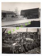2 CARTES PHOTOS - 17 SAINTES -  WWII - LA GARE - ATELIER MECANIQUE - PIGNON NORD - BOMBARDEMENT 44  RECONSTRUCTION EN 47 - Saintes