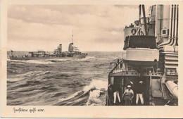 ORIGINAL WW2 KRIEGSMARINE POSTCARD -  DESTROYER AT SEA - Guerre 1939-45