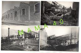 4 CARTES PHOTOS - 17 SAINTES - LA GARE - ATELIER MECANIQUE - FACADE OUEST - EST - BOMBARDEMENT 44  RECONSTRUCTION EN 47 - Saintes