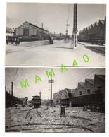 2 CARTES PHOTOS - 17 SAINTES - LA GARE - ATELIER MECANIQUE ET FORGES - BOMBARDEMENT 44  RECONSTRUCTION EN 47 - Saintes