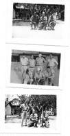 1955 INDOCHINE - GENDARMES FOVEAU HAMON NIOCHE, SERGENT INTERPRETE THO, LIEUTENANTS HOCQUET FLAMANT - 3 PHOTOS - Guerra, Militari