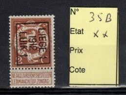 Préoblitéré Typo N° 35 B Liège 1912 XX - Typos 1912-14 (Lion)