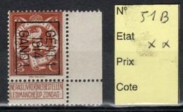 Préoblitéré Typo N° 51 B Gand 1914 XX - Typos 1912-14 (Lion)