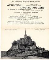 """PUB, Carte Double Menu. A L'Omelette Renommée De La """"Mère Poulard"""" , Mont Saint Michel,  Hotel Et Ses Dépendances - Ristoranti"""