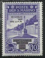 REPUBBLICA DI SAN MARINO 1943 CADUTA DEL FASCISMO LIRE 10 MNH - Unused Stamps