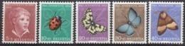SCHWEIZ  575-579,  Postfrisch **, Pro Juventute 1952, Insekten - Neufs