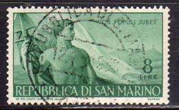 REPUBBLICA DI SAN MARINO 1948 LAVORO LABOUR LIRE 8 USATO USED OBLITERE' - Used Stamps