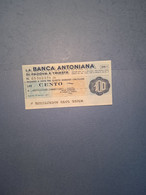 ITALIA-MINIASSEGNO-BANCA ANTONIANA PD E TS-UNIONE COMMERCIANTI-PD-100 - [10] Assegni E Miniassegni