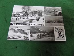 VINTAGE CZECH REPUBLIC: Krkonose Pec Pod Snezkou Multi View B&w Skiing - Repubblica Ceca