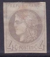 FRANCE - 41B  4C GRIS EMISSION BORDEAUX NEUF* AVEC GOMME COTE 400 EUR - TRES LEGER CLAIR - 1870 Bordeaux Printing